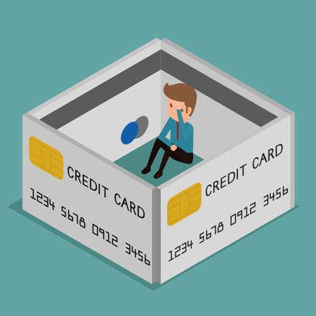 idea cartoon: Flat 3D isometric. Businessman very upset .Credit card encircled. Debt concept. Cartoon  Vector Illustration. Illustration