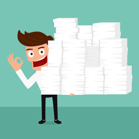 Happy business man holding many paper in hand and working hard. Cartoon Vector Illustration. Illustration