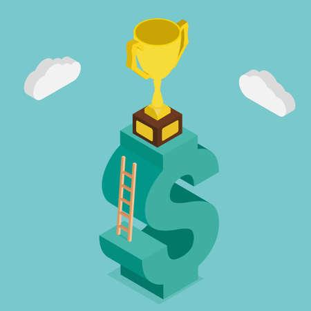 rewarded: Trofeo en las escaleras de dinero. Dise�o 3d ilustraci�n isometric.vector Vectores