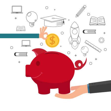 pieniądze: Rodzina nauczania dziecka, aby zaoszczędzić pieniądze i planowania finansowego w przyszłości. Cartoon ilustracji wektorowych.