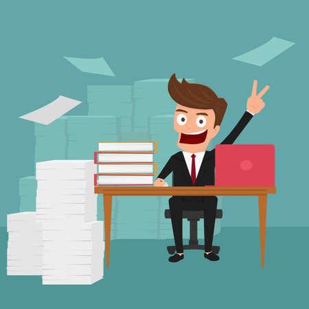 hardworking: Business man work hard and love his job. Cartoon Vector Illustration.