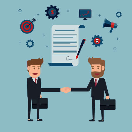 adviser: Businessman handshake and contract to sign on agreement paper. Cartoon Vector Illustration. Illustration