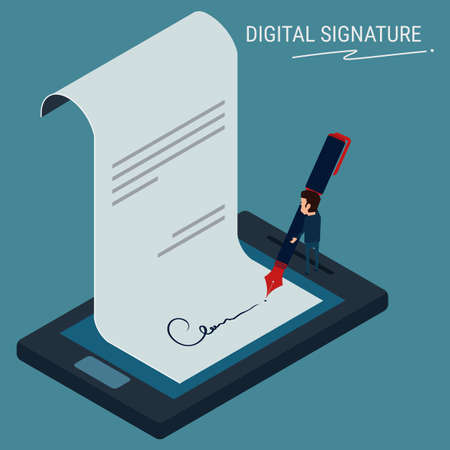 Flat Isometric. Digital signature , businessman sign on smartphone. Cartoon Vector Illustration.