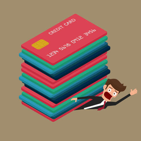 debt: Businessman under many credit cards. Debt concept.  Cartoon Vector Illustration.