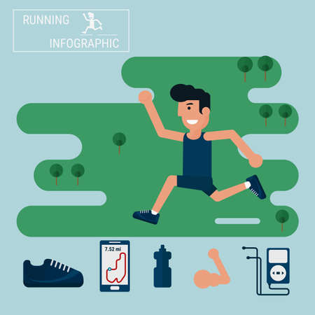 jogging: Jogging and running infographics set with man running outdoor. Cartoon Vector Illustration. Illustration