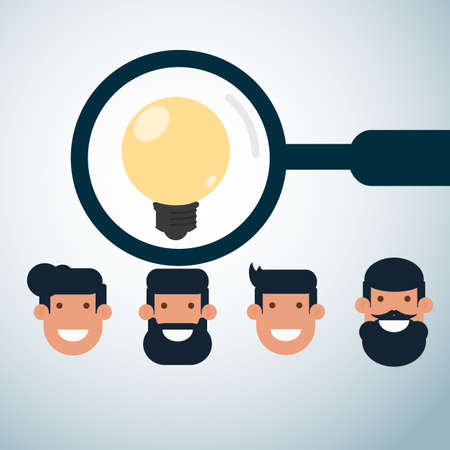 headhunter: Human resources concept . Scanning and looking for the best employee. Cartoon Vector Illustration.