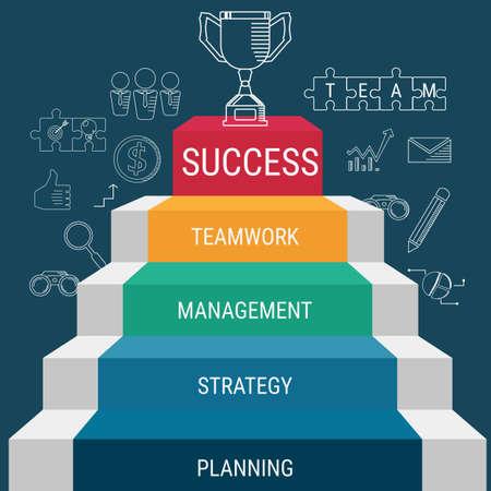A etapa da escada vai ao troféu e ao sucesso. Escadaria para o sucesso. Ilustração em vetor dos desenhos animados.