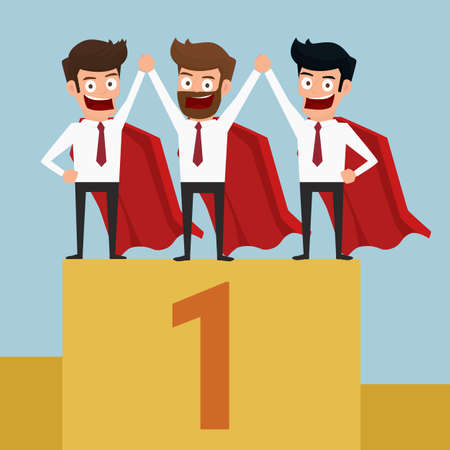 Superheros business team have to success. Standing on the winning podium. Cartoon Vector Illustration. Illustration