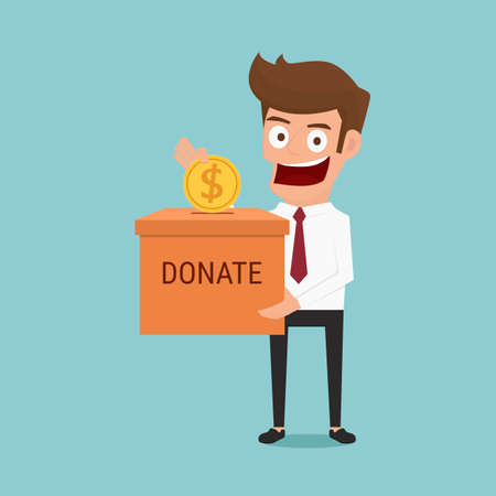 pension: Businessman putting coin in the donation box. Donation concept. Cartoon Vector Illustration.