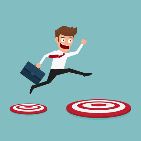 businessman jumping: Businessman jumping to big target. Cartoon Vector Illustration.