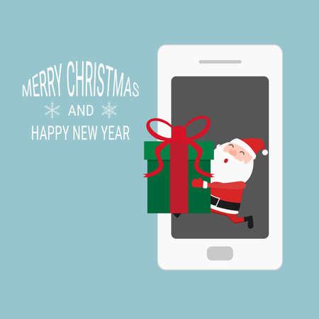 phone vector: Santa Claus giving gift on phone. Cartoon Vector Illustration.