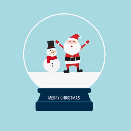 Merry christmas snow globe with santa claus and snowman. Cartoon Vector Illustration. Illustration