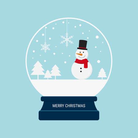 Merry christmas snow globe with snowman. Cartoon Vector Illustration.