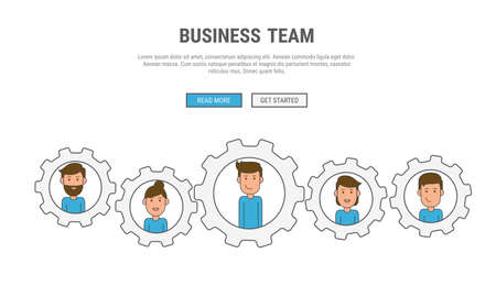 vector images: Flat line design concept for business People teamwork, used for web banners, hero images, printed materials. Vector Illustration.