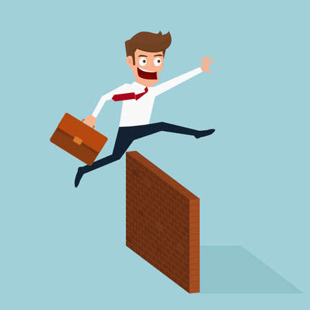 obstacle: Businessman jumping over obstacle. Cartoon Vector Illustration.