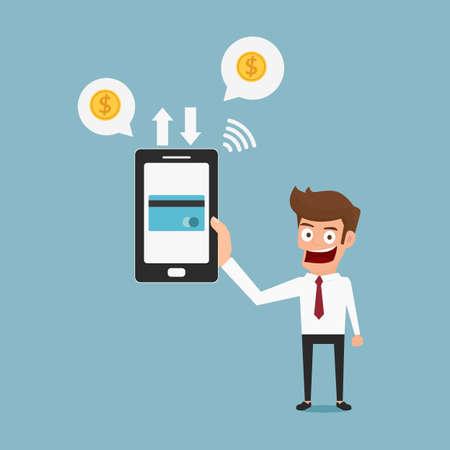 transfer: Businessman holding smartphone. Mobile payment credit card. Cartoon Vector Illustration. Illustration