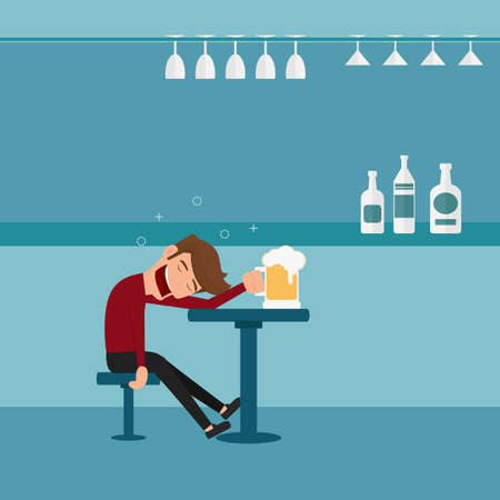 drunkard: A drunk man asleep at the bar in the night club.Man relaxing in a bar. Cartoon Vector Illustration.