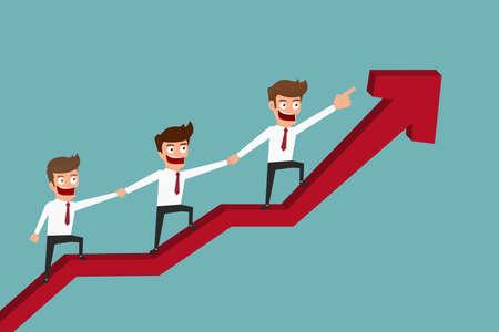 eficiencia: equipo de negocios en gráfico de la flecha con el concepto success.Teamwork. Ilustración vectorial de dibujos animados. Vectores