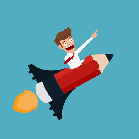 success business: Flat design modern creative startup business concept. Businessman flying on a pencil rocket. Cartoon Vector Illustration. Illustration