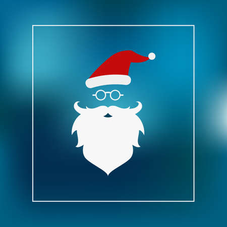 hat santa: Flat design. Merry Christmas with Santa Claus hat and beard Card background. Vector Illustration.