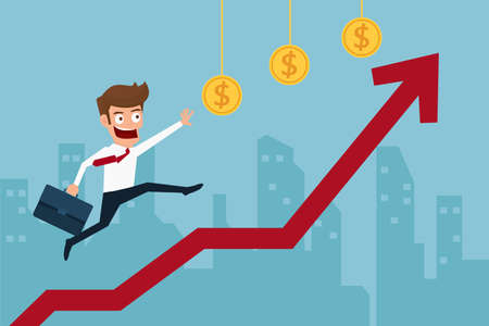 Business man running top of graph and striving to achieve his goal of higher profits. Cartoon Vector Illustration.