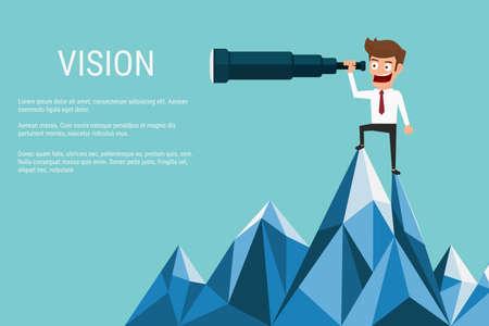 vision futuro: El hombre de negocios de pie en la cima de la montaña usando el telescopio en busca de éxito, las oportunidades, las tendencias futuras de negocio. Concepto Vision. Ilustración de la historieta del vector.