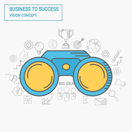 business success concept: Binoculars. Vision and line icons business success concept. Vector Illustration