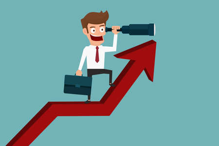 Businessman stand on arrow graph using telescope looking for success, opportunities, future business trends. Vision concept. Cartoon Vector Illustration.