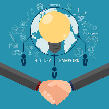 Business team brainstorm and get big idea. Cooperate global business success concept. Icons design. Cartoon Vector Illustration. Illustration