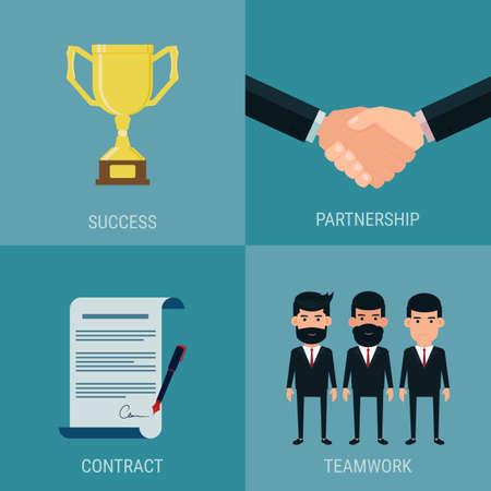 cooperate: Set of cooperate business success concept. Trophy ,handshake, contract, teamwork. Cartoon Vector Illustration