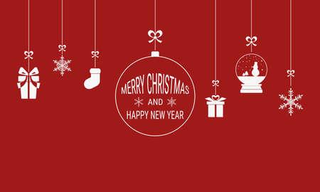 moños navideños: Silueta. Adornos de Navidad colgando de la cinta con el fondo aislado. Ilustración del vector.