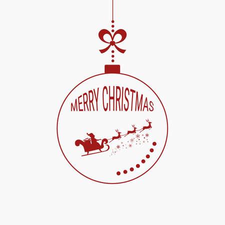 christmasball: Christmas ball merry christmas , Santa claus flying with reindeer sleigh. Cartoon Vector Illustration.