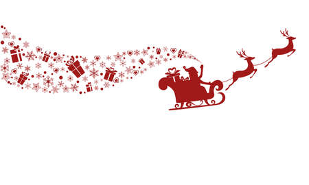 Silueta roja. Vuelo de Papá Noel con el trineo de renos. Ilustración vectorial de dibujos animados. Vectores