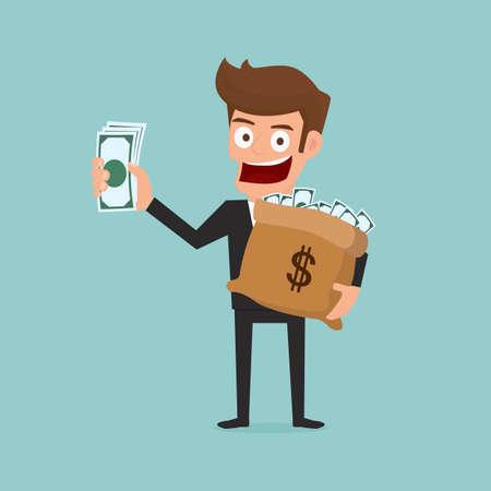 hombre caricatura: Negocios tiene en la mano el dinero. Ilustración vectorial de dibujos animados.