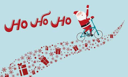 Papá Noel que monta en bicicleta en forma de regalo. Ho ho ho Feliz Navidad. Ilustración vectorial de dibujos animados.