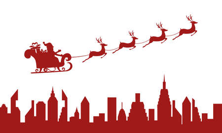 santa and sleigh: Red Silhouette. Santa claus flying over a city with reindeer sleigh. Cartoon Vector Illustration.