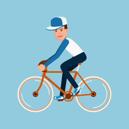 touring: Man riding bicycle, Character design. Cartoon Vector Illustration. Illustration