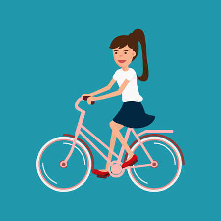 ladies shoes: Woman riding bicycle, Character design. Cartoon Vector Illustration.