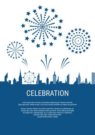 Cityscape, Skyscrapers with celebration fireworks background. Vector Illustration. Stock Illustratie