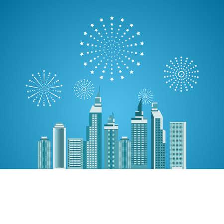 celebration background: Cityscape, Skyscrapers with celebration fireworks background. Vector Illustration. Illustration