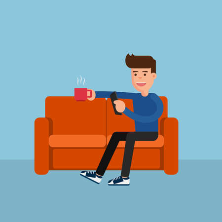 people   lifestyle: Flat design. Man on sofa relax online activity. Cartoon Vector Illustration.