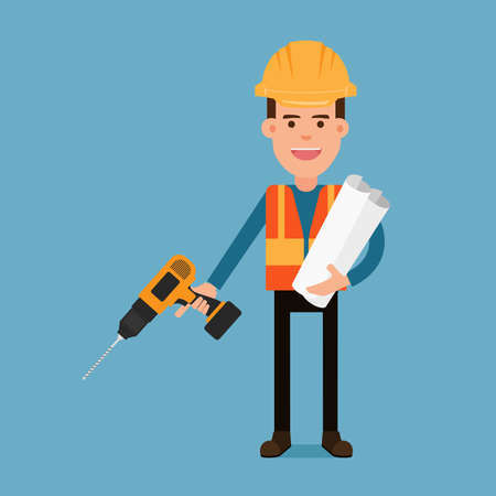 Character flat design. Construction worker holding a drill and blueprint papers. Cartoon Vector Illustration.