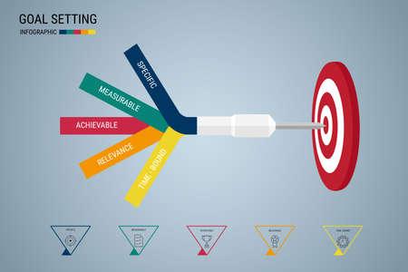 metas: El establecimiento de metas. inteligente objetivo. Concepto de negocio plantilla de infografía. Puede ser utilizado para el diseño de flujo de trabajo, bandera, diagrama, diseño de páginas web. Ilustración del vector.