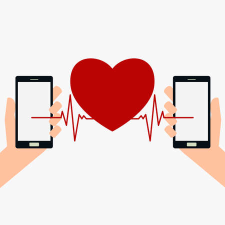 beating: Hand holding smart phone and beating heart. Cartoon Vector Illustration. Illustration