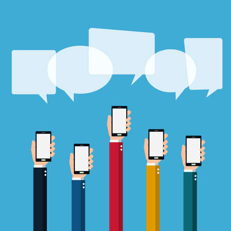Communication concept. Hand holding smartphone with speech bubbles. Cartoon Vector Illustration.
