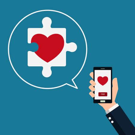 telefono caricatura: Corazón del rompecabezas. teléfono inteligente en la mano con encontrar el amor. Día de San Valentín. Ilustración vectorial de dibujos animados.