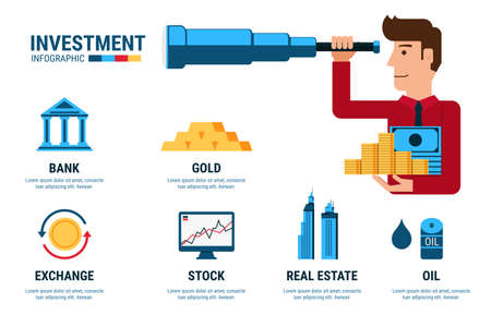 investment vision: Investment Infographics. Businessman using telescope looking for investment.  Cartoon Vector Illustration. Illustration
