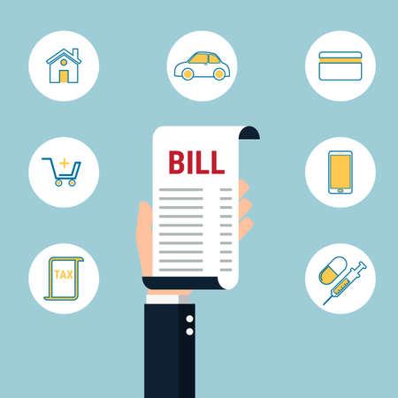 medical bills: Debt concept. Paying bills. Hand holding bills with icons. Cartoon Vector Illustration. Illustration
