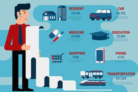 medical bills: Payment bill infographics. Monthly expenses. Debt concept. Cartoon Vector Illustration. Illustration