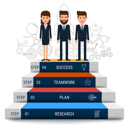 Business team with stair step to success. Staircase to success. Cartoon Vector Illustration. 向量圖像